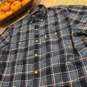 GH Bass Blue Short Sleeve Button Down Shirt Large